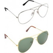 Pogo Fashion Club Aviator, Over-sized Sunglasses(Green, Clear)