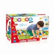 Cuburi colorate de construit, 56 piese, margini rotunjite, usor de imbinat