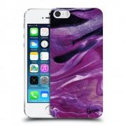 Műanyag átlátszó tok az alábbi mobiltelefonokra Apple iPhone 5/5S/SE - Purple glitter