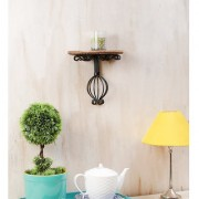 Onlineshoppee Wooden Wrought Iron Wall Bracket Size (LxBxH-10x5x9) Inch