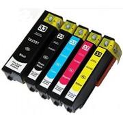 """Conjunto 5 Tinteiros Compatíveis Epson 33 XL - ref. T3351/T3361/2/3/4"""
