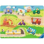 Puzzle din lemn Ravensburger - Vehicule, 8 piese (03684)