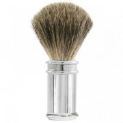 Edwin Jagger Lined Chrome Pure Badger Shaving Brush, Edwin Jagger