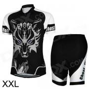 Jersey deportivo elegante de los hombres + pantalones cortos que completan un ciclo el equipo - negro + blanco (xxl)