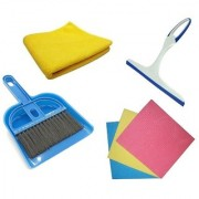 Stylewell Set Of Mini Dustpan and Broom Set Cleaning Sponge Wipes Microfiber Cleaning Cloth And Glass Wiper Cleaner