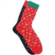 Soxytoes Christmas Tree Multi-Coloured Cotton Crew Ankle Pack of 2 Pairs Unisex Anytime Socks (SOSN0086)