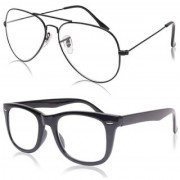 Ivonne Clear Lens Black Aviator Wayfarer Sunglasses for Men Women. Boys Girl
