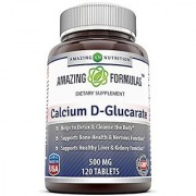 Amazing Nutrition Calcium D-Glucarate (500 Mg 120 Tablets) Combines The Benefits Of Calcium With The Benefits Of Glucaric Acid. Supports Body's Detoxification Function By Helping The Liver & Kidney To Process And Flush Out Toxins. Supports Healthy Bones