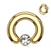 piercing ball closure ring gold plated 2.4 mm