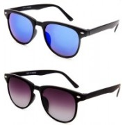 Ivonne Retro Square Sunglasses(Black, Blue)