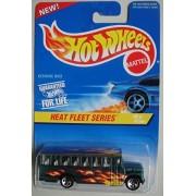 Hot Wheels Heat Fleet Series 2/4 Green School Bus 5 Spoke Wheel 1:64 Scale