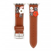 Flower Decor Genuine Leather Watch Strap Wrist Band Replacement for Apple Watch Series 4/5 44mm / Series 1/2/3 42mm - Brown