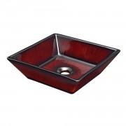 Мивка за вграждане, Керамика 42 x 42 x 12 cm Червен