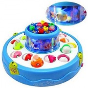 DK Go Go Fishing Electric Rotating Magnetic Fish Catching Game With Musical Lights (Multicolor)