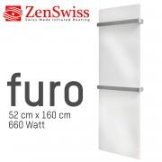 ZenSwiss furo Handtuchtrockner 52 x 160 cm (Glanz Weiss)