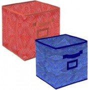 Billion Designer Laheriya Design Non Woven 2 Pieces Small & Large Foldable Storage Organiser Cubes/Boxes (Orange & Blue) - BILLION36121 BILLION036121(Orange & Blue)