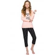 Gabi lányka pamut pizsama cicával, lazacszínű 146