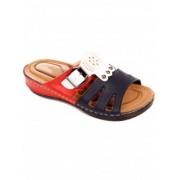 Дамски чехли в синьо, червено и бяло