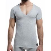 Cut For Men C4M Solid Deep V Neck Short Sleeved T Shirt Grey C4M08