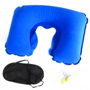 3in1 Sleeping Eye Mask + Ear Plug + U en forma de almohada - Azul + Negro