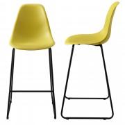 [en.casa]® Bárszék Helsinki 2 darabos design konyhai szék szett fém lábak 110 x 46.5 cm mustársárga