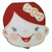 Cutie pentru pastrat dinti de lapte ombilic si suvita par pentru fete din lemn pictata manual multicolor