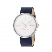 Simplify The 4400 Leather-Band Watch - Silver/White/Navy SIM4401