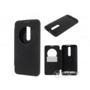 Husa din piele Mercurycase Wow Bumper S-View cover pentru telefon Asus Zenfone 2 (ZE551ML) , negru
