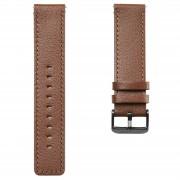 Lucleon Bracelet de montre en cuir brun fauve à boucle noire