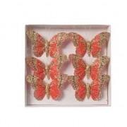 Merkloos Vlinders op steker rood 8 cm met glitters decoratie materiaal
