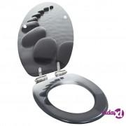vidaXL Toaletna daska s mekim zatvaranjem MDF s uzorkom kamenja