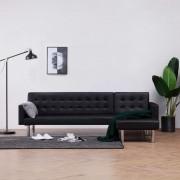 vidaXL Ъглов разтегателен диван, черен, изкуствена кожа