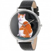 Whimsical Watches Manx Cat Black Leather and Silvertone Photo Unisex Quartz Watch with White Dial Analogue Display and Multicolour Leather Strap T-0120045 - Часовник за мъже и жени