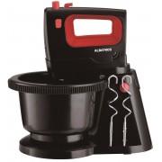Mixer cu bol Albatros MXA300B, 300 W, 5 viteze + funcţie Turbo, Buton eject, Palete mixare, Cârlige frământare, Vas rotativ, Negru/Rosu