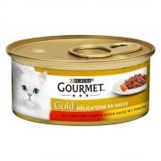 Gourmet 48 x 85 g Gourmet Gold Delicatesse Nötkött & Kyckling i tomatsås kattmat