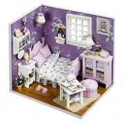 Doll House - Wooden Miniature DIY Dollhouse Handmade Kit Lovely Cute Dreaming Assemble Kit with Furniture & Accessories Sweet Sunshine Doll House Boy Girl Gift Miniature Crafts Kit by Shuban