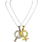 Men Style Couples His And Her Gold And Crystal Male and Female Symbol With Rose 2 Pcs Best Gift for Lovers Silver And Gold 316L Stainless Steel Symbols Pendent For Men And Women