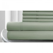 1,000TC Italian Hotel Collection Cotton-Rich Sheet Set (4-pc or 6-pc) Queen Single Silver Sage Green