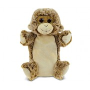 Puzzled Monkey Super-Soft Plush Cuddly Animal Hand Puppet - Animals / Wild Animals / Zoo Animals Theme - 9 INCH - Unique huggable loveable New friend Gift - Item #5798