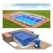 Pool-Komplettset Albixon G2 Quattro Dallas Clear Premium+ mit Überdachung, Pool und Technikschacht 3,50 x 7,00 x 1,20 / 1,50m