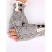 Knitted Lace Gloves With Button