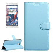 OnePlus 3 & 3T Litchi Texture Horizontal Flip Leather Case with Magnetic Buckle & Holder & Card Slots & Wallet (Blue)