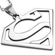 Ezüst színű, Superman logójú nemesacél medál ékszer