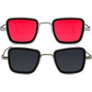 Rylie Retro Square Sunglasses(Black, Red)