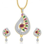 Sukkhi Enticing Gold And Rhodium Plated Ruby CZ Pendant Set For Women