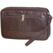 Kan Premium Quality Leather Hand Bag/Travel Organizer for Men & Women(Brown)