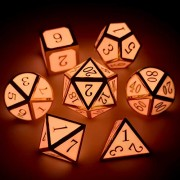 Haxtec 7Pcs Zinc Alloy DND Metal Dice Set Glow in The Dark Durable Polyhedral Glowing D20 D12 D10 D8 D6 D4 for Dungeons and Dragons RPG MTG Table Games