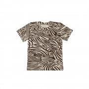 Little Indians Boxy Tshirt Zebra - Fondue Fudge - Size: 4-5 years