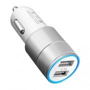 GadgetBay Universele Silver Car Charger - Dual USB 2.4 Ampère - Autolader zilver