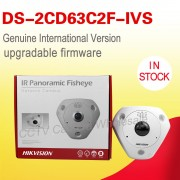 Free shipping DS-2CD63C2F-IVS English version 12MP Fisheye Network Camera 360 degree view angle ip camera AUDIO